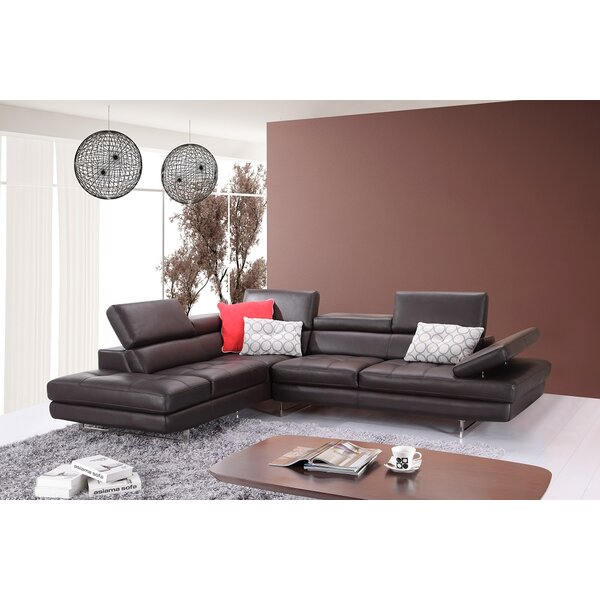 Kamila Leather Sectional by Orren Ellis