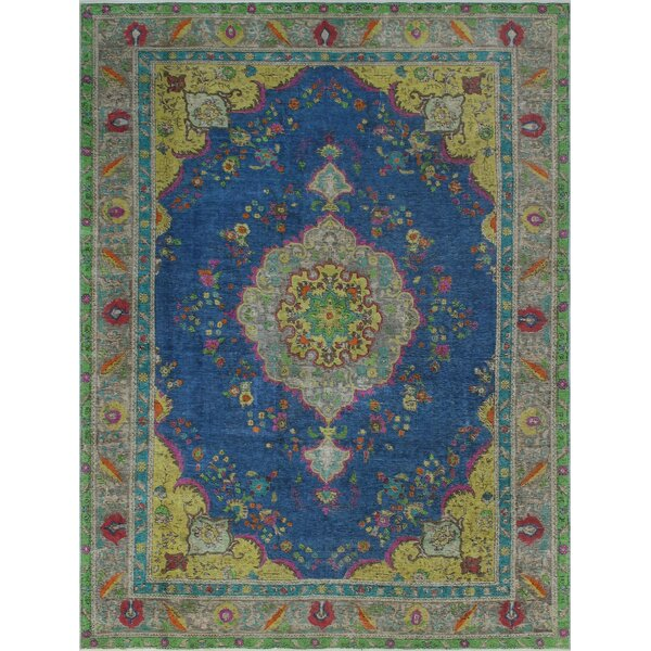 Brittain Vintage Distressed Overdyed Hand Knotted Wool Blue Area Rug by Bloomsbury Market