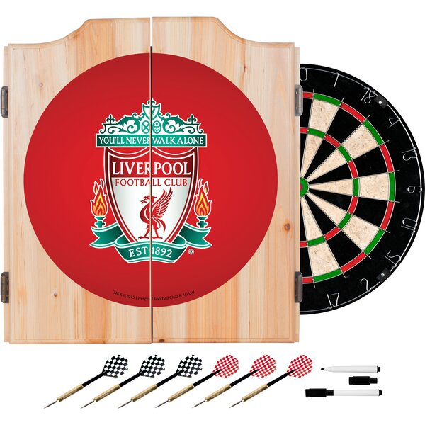 English Premier League Dartboard and Cabinet Set by Trademark Global