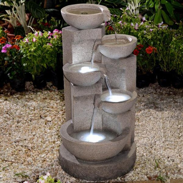 Resin/Fiberglass Multi Tier Bowl Fountain with LED Light by Jeco Inc.