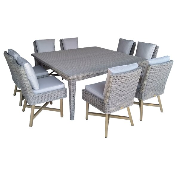 Aroca Premium Quality Patio 9 Piece Dining Set with Cushions by Wrought Studio