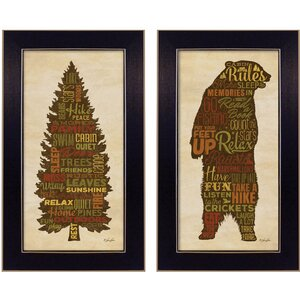 'Cabin Rules' 2 Piece Framed Textual Art Set by Trendy Decor 4U