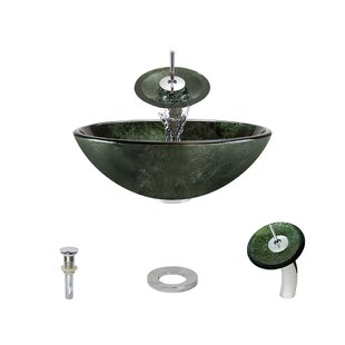 Great choice Forest Glass Circular Vessel Bathroom Sink with Faucet By MR Direct
