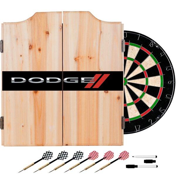 Dodge Logo Dartboard and Cabinet Set by Trademark Global
