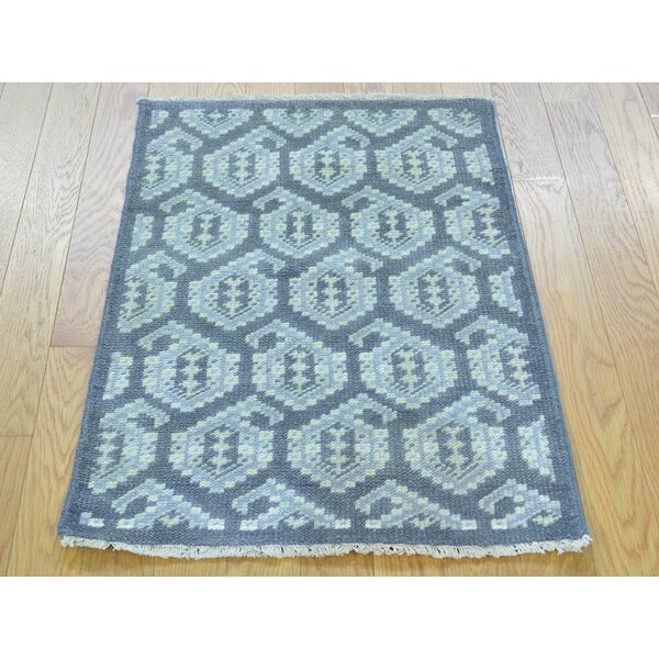 One-of-a-Kind Bridgeview Paisley Design Turkish Knot Hand-Knotted Grey Wool Area Rug by Isabelline
