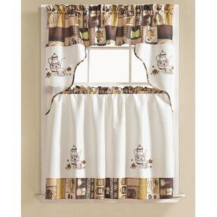 Werner Coffee 3 Piece Kitchen Curtain Set