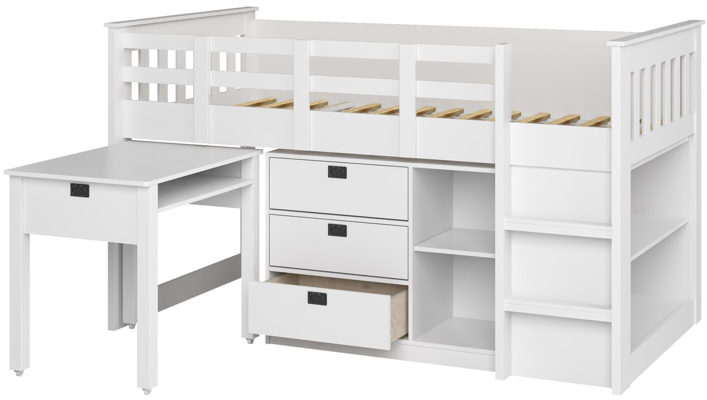 deion twin low loft bed with storage reviews allmodern. Black Bedroom Furniture Sets. Home Design Ideas