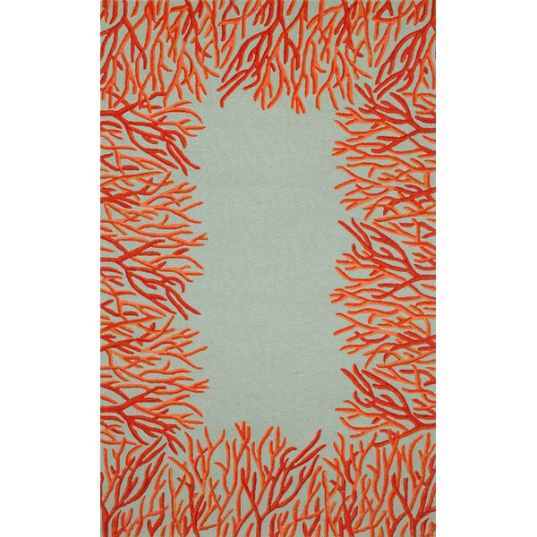 Bluford Orange Coral Border Orange/Blue Indoor/Outdoor Area Rug by Highland Dunes