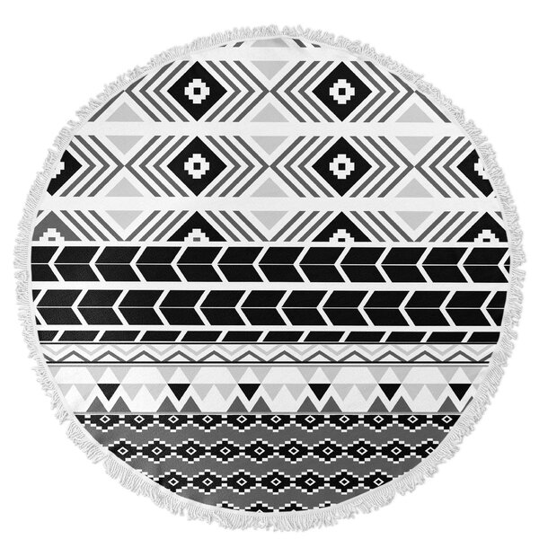 Tribal Round Beach Towel by KAVKA DESIGNS