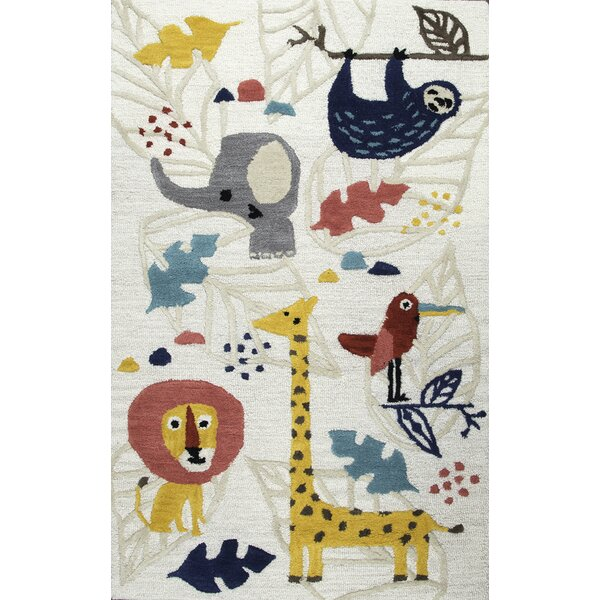Ashlee Hand-Tufted Yellow/Gray Kids Rug by Zoomie Kids