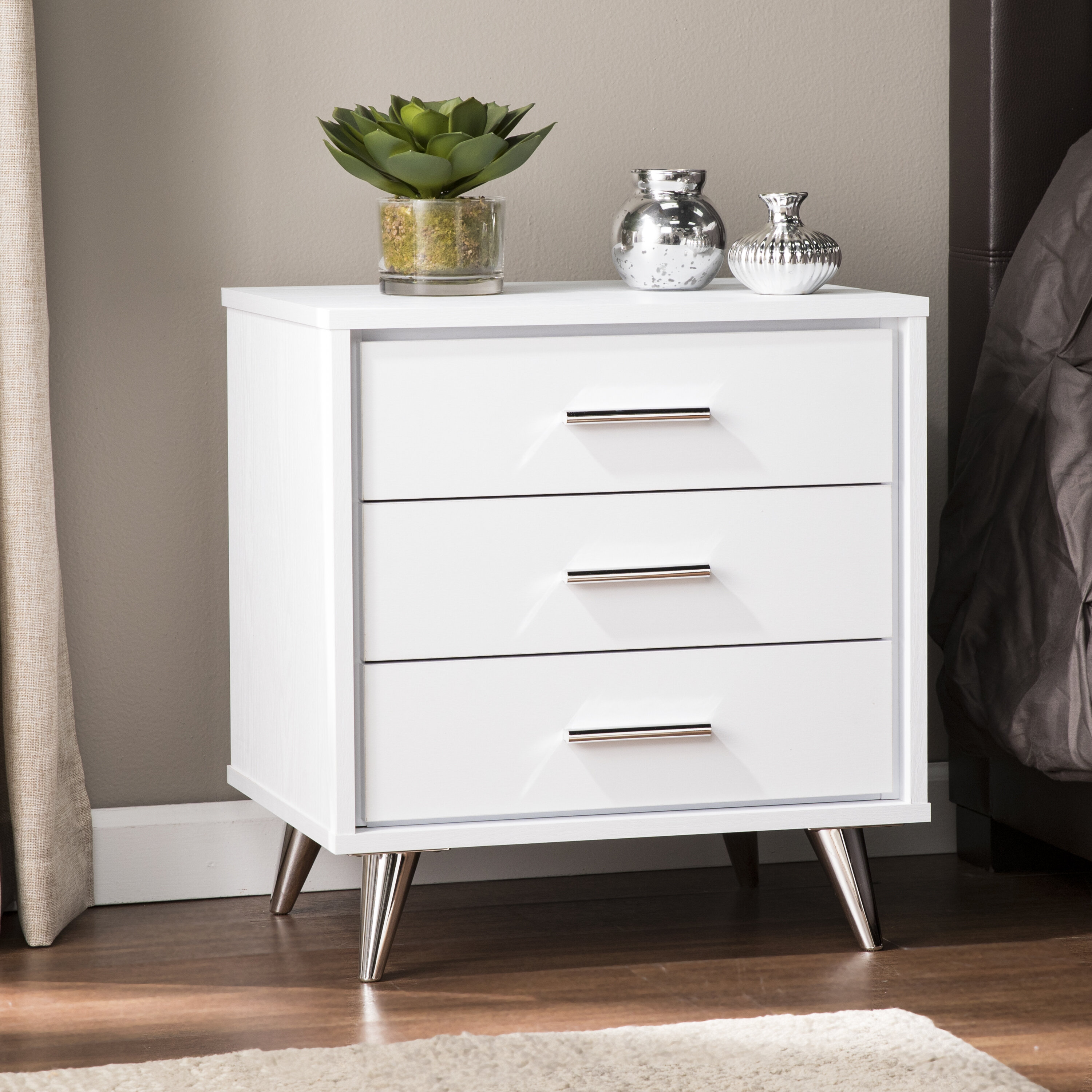 Furniture Brooklyn White Bedside Table Solid Fully Assembled Bedside Cabinet Metal Runners Home Furniture Diy Lugecook Com Br