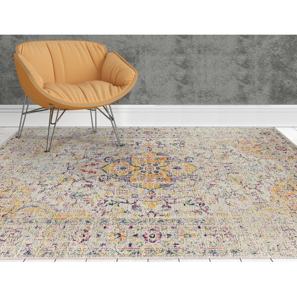 Kinslee Beige/Pink/Yellow Area Rug by Bungalow Rose