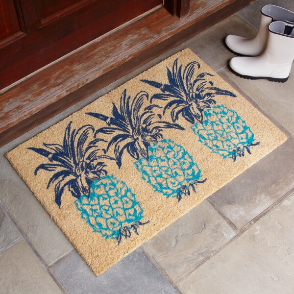 Trio Pineapple Rust Welcome Doormat by Birch Lane�