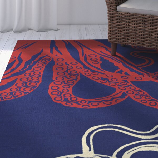 Shelford Hand-Hooked Red/Blue Indoor/Outdoor Area Rug by Highland Dunes