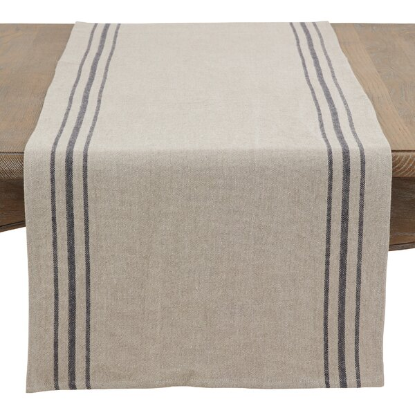 Filip Striped Linen Table Runner by Breakwater Bay