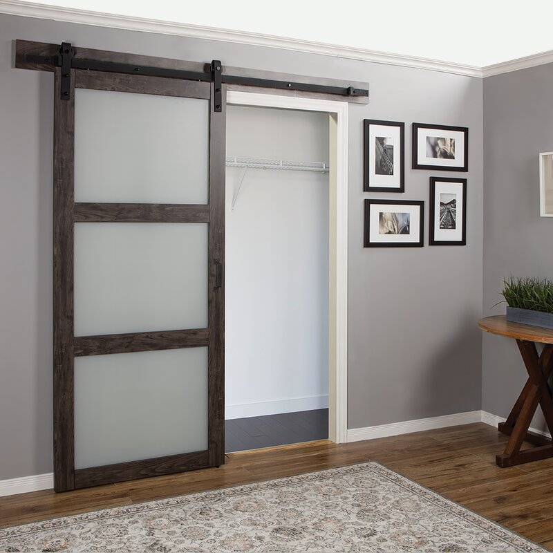 Continental Frosted Glass 1 Panel Ironage Laminate Interior Barn Door & Erias Home Designs Continental Frosted Glass 1 Panel Ironage ...