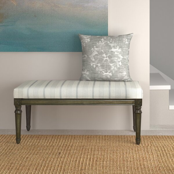 Lake Kathryn Stripe Decorative Upholstered Bench with Wood Legs by Beachcrest Home