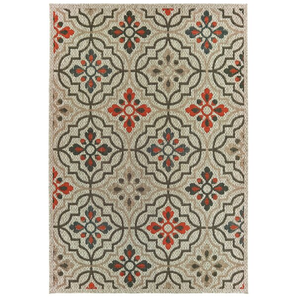 Berryville Medallion Lattice Gray/Orange Indoor/Outdoor Area Rug by World Menagerie