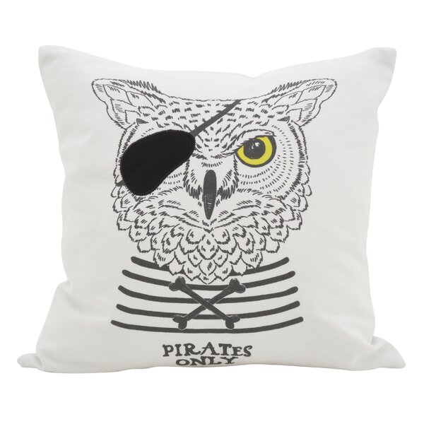 Owens Animal Dessiné Owl Print Pirate Cotton Throw Pillow by Wrought Studio