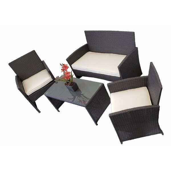 Wenzel 4 Piece Rattan Sofa Seating Group with Cushions by Wrought Studio