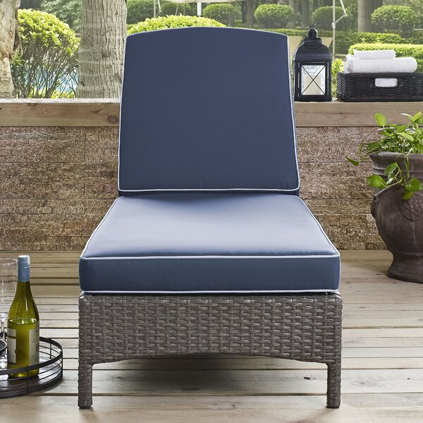 Brandy Outdoor Reclining Chaise Lounge with Cushion by Mistana