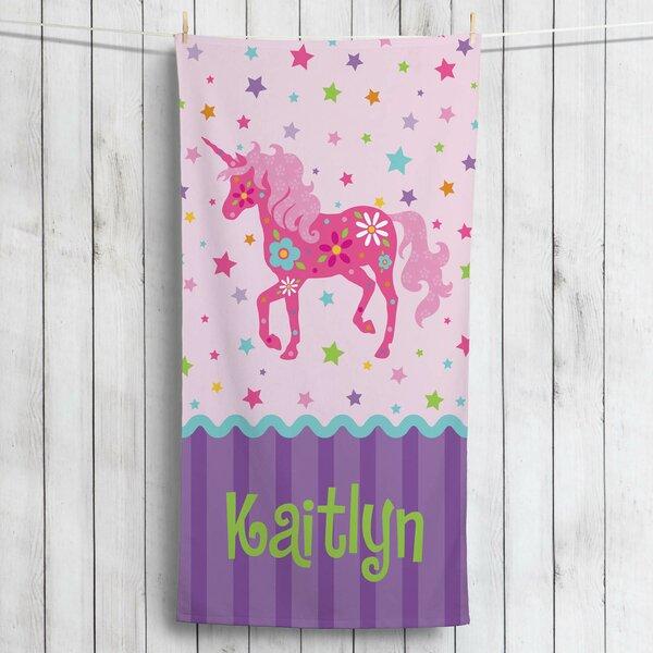 Kirwan Pretty Unicorn Personalized Beach Towel by Zoomie Kids