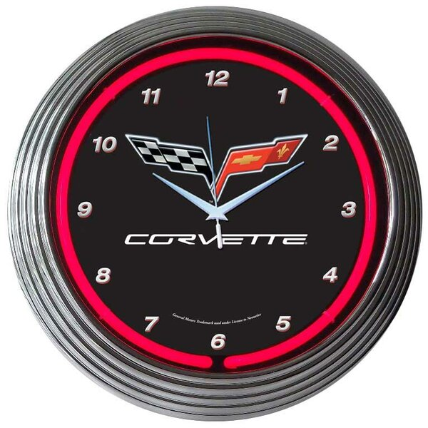 Cars and Motorcycles 15 Corvette C6 Wall Clock by Neonetics