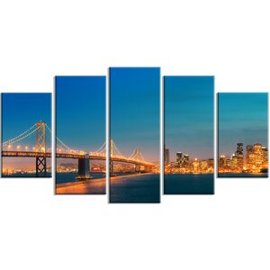 'Illuminated San Francisco Skyline' 5 Piece Photographic Print on Wrapped Canvas Set by Design Art