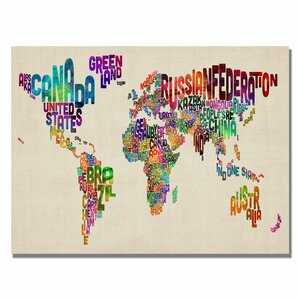 World map canvas kids wayfair typography world map ii by michael tompsett graphic art on wrapped canvas gumiabroncs Images