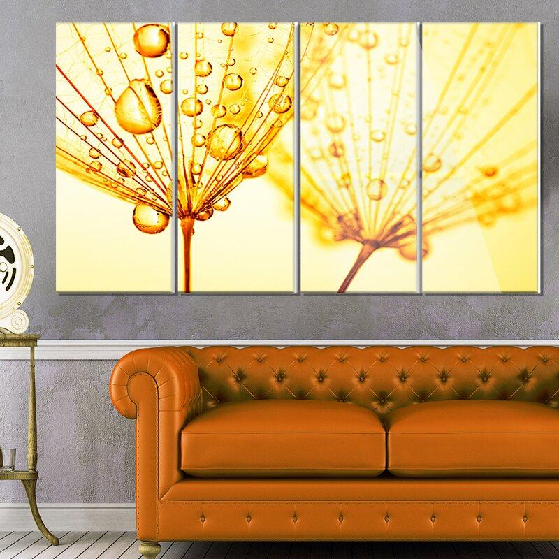 DesignArt \'Dandelion Seeds with Water Drops\' 4 Piece Graphic Art on ...