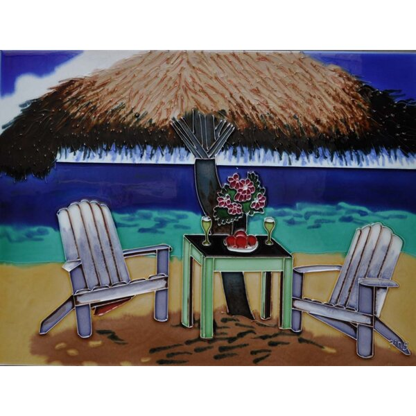 Beach Palapa Tile Wall Decor by Continental Art Center