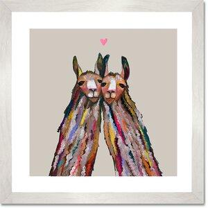 'Llama Love' by Eli Halpin Framed Painting Print by GreenBox Art
