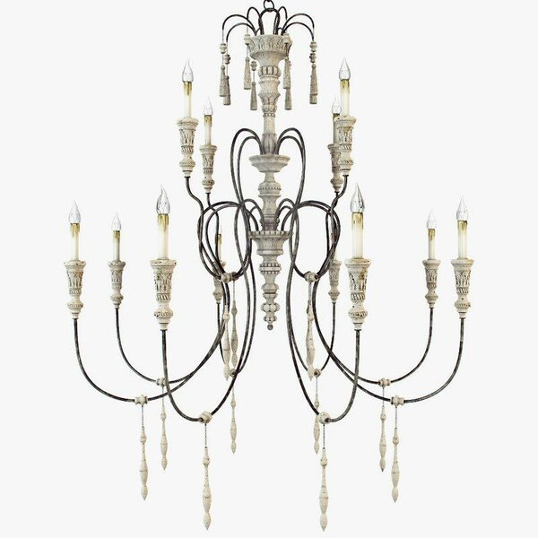 Valeria 12 - Light Candle Style Tiered Chandelier with Wrought Iron Accents by One Allium Way One Allium Way