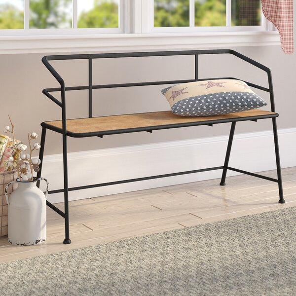 Idell Metal and Wood Bench by Laurel Foundry Modern Farmhouse