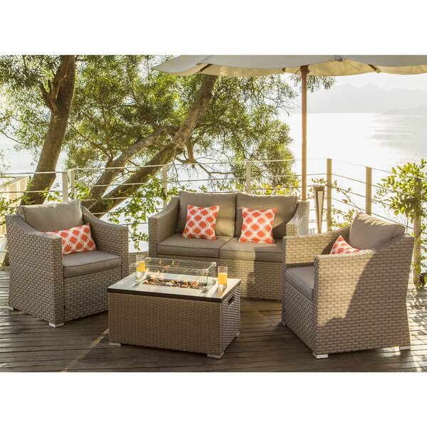 Marnie 5 Piece Rattan Sofa Seating Group with Cushions by Longshore Tides Longshore Tides