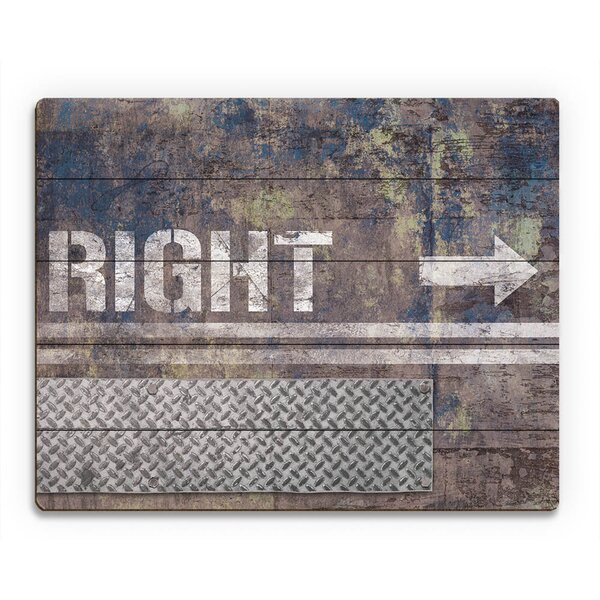 Grungy Sapphire Right Arrow Graphic Art on Canvas by Click Wall Art