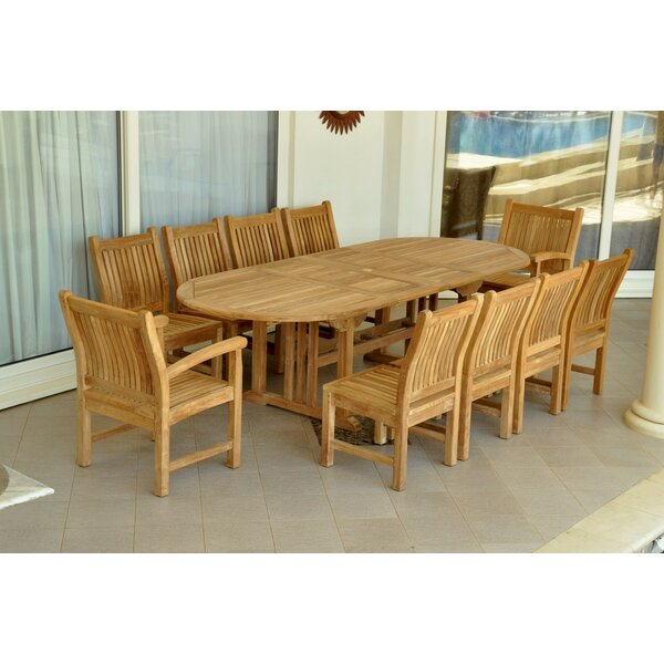 Bowker 11 Piece Teak Sunbrella Dining Set with Cushions by Freeport Park