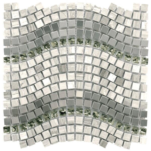 Sierra 0.56 x 0.56 Glass/ Stone/ Metal Mosaic Tile in Gray by EliteTile