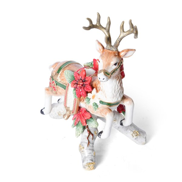 Cardinal Christmas Deer Ceramic Candlestick by Fitz and Floyd