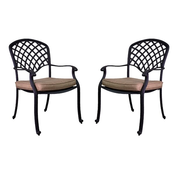 Idalou Stacking Patio Dining Chair with Cushion (Set of 2) by Fleur De Lis Living