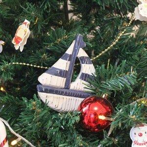 Rustic Sailboat Christmas Hanging Figurine
