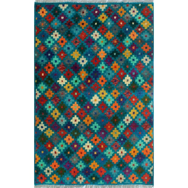 One-of-a-Kind Altoona Hand-Knotted Wool Blue/Green Area Rug by Isabelline