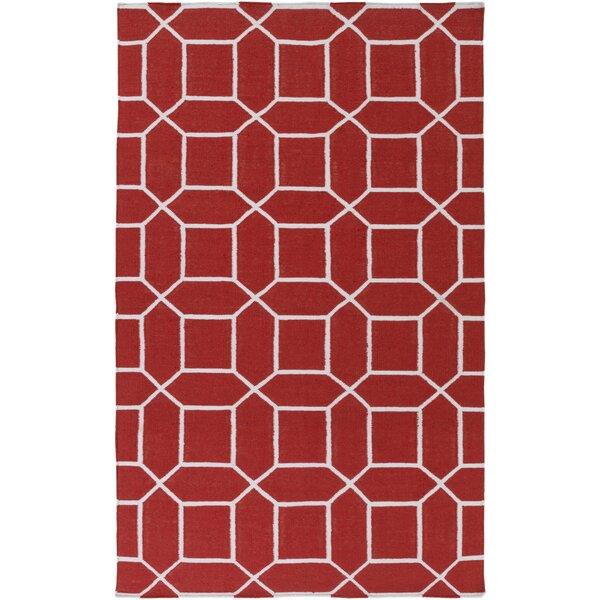 Larksville Handwoven Flatweave Dark Red/White Area Rug