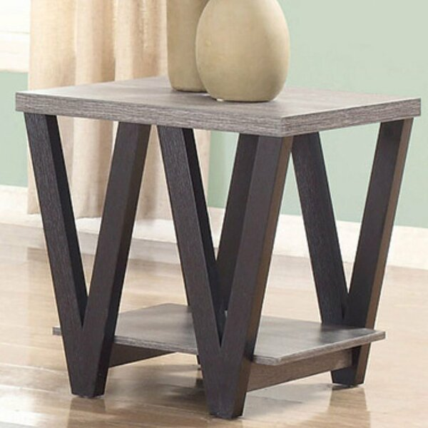 Elicia Zig-zag Contemporary Solid Wooden End Table by Wrought Studio