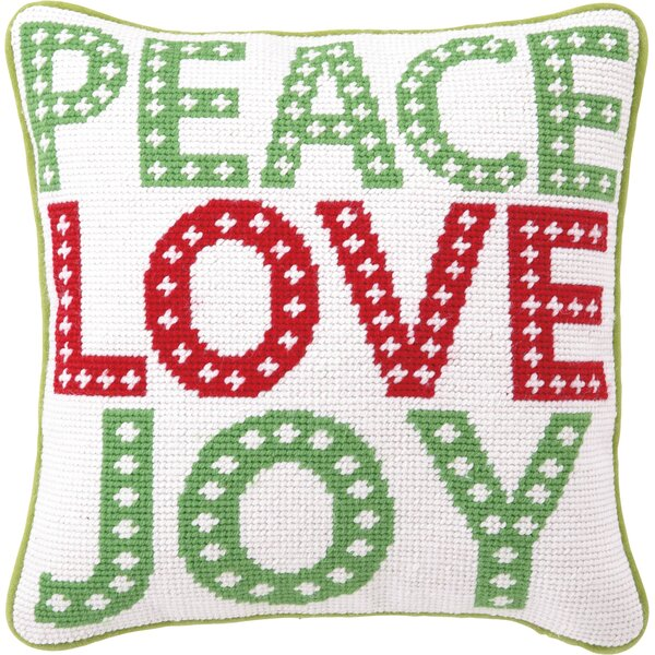 Peace Love Joy Wool Throw Pillow by The Holiday Aisle