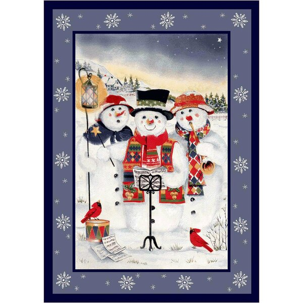 Winter Seasonal Holiday Merry Minstrels Snowman White/ Blue Area Rug by Milliken