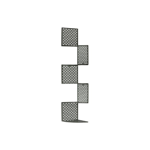 Metal Corner Wall Shelf with 5 Tiers and Perforated Surface and Backing LG Red by Urban Trends