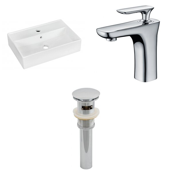 Ceramic 14 Wall Mount Bathroom Sink with Faucet and Overflow by American Imaginations