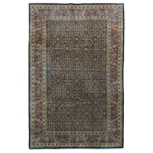 One-of-a-Kind Gia Oriental Hand-Knotted Wool Black Area Rug Isabelline