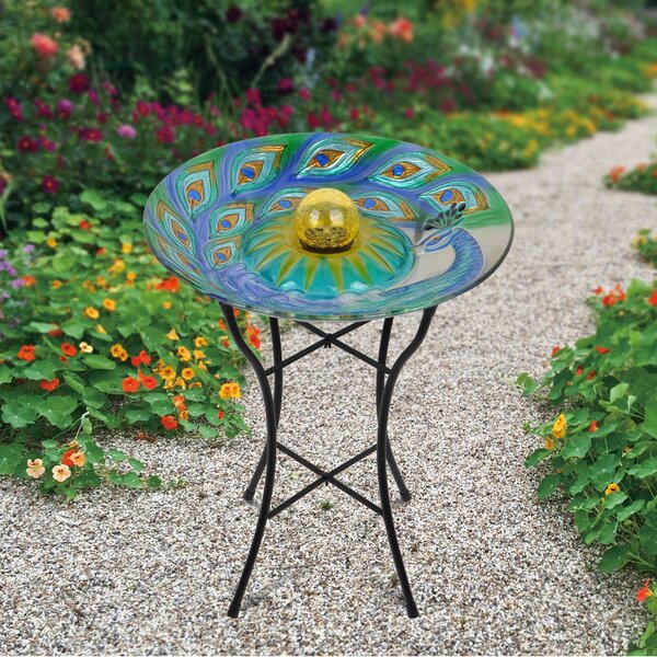 18 Outdoor Glass Peacock Solar Birdbath by Peaktop